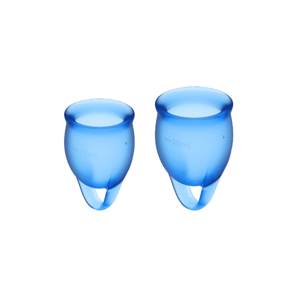 Satisfyer Feel Confident Menstrual Cup Blue Front View